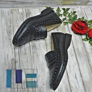 LF studded 'Mine' black leather loafers size 6.5